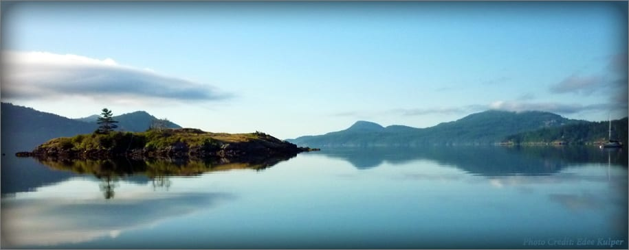 Eastsound and Indian Island on a calm morning.