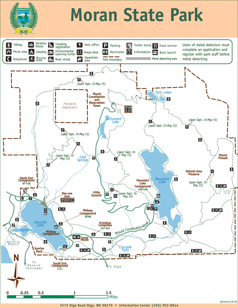 Map of Moran State Park including trails and campgrounds