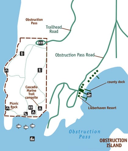 Trail and activities map of Obstruction Pass State Park.