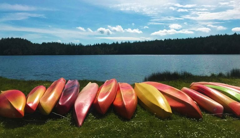 Kayak rentals stored at the Cascade Lake picnic area.